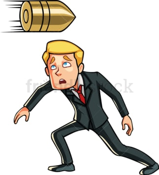 Business man dodging a bullet. PNG - JPG and vector EPS file formats (infinitely scalable). Image isolated on transparent background.