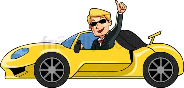 Business man showing off sports car. PNG - JPG and vector EPS file formats (infinitely scalable). Image isolated on transparent background.
