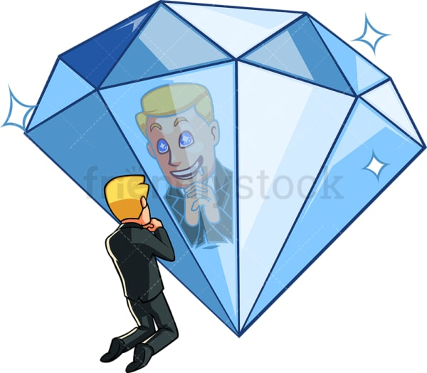 Business man with shiny object syndrome. PNG - JPG and vector EPS file formats (infinitely scalable). Image isolated on transparent background.