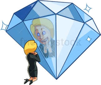 Businesswoman admiring oversized diamond. PNG - JPG and vector EPS file formats (infinitely scalable). Image isolated on transparent background.