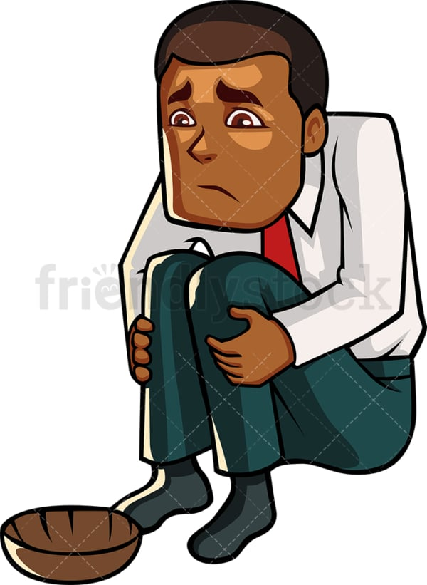 Failed black businessman. PNG - JPG and vector EPS file formats (infinitely scalable). Image isolated on transparent background.
