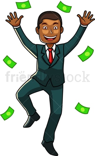 Happy black business man with dollars. PNG - JPG and vector EPS file formats (infinitely scalable). Image isolated on transparent background.