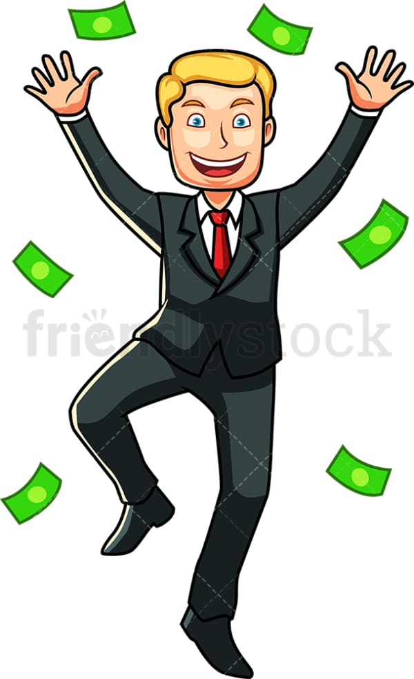 Happy businessman rain of money. PNG - JPG and vector EPS file formats (infinitely scalable). Image isolated on transparent background.