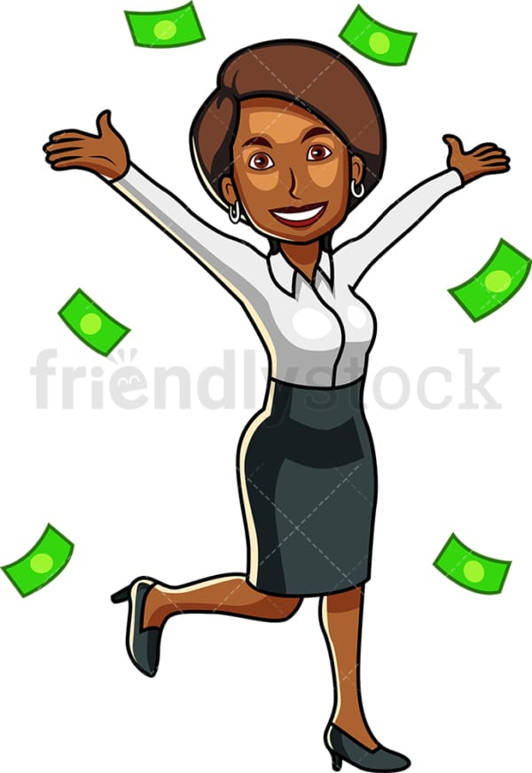 Money raining down black business woman. PNG - JPG and vector EPS file formats (infinitely scalable). Image isolated on transparent background.