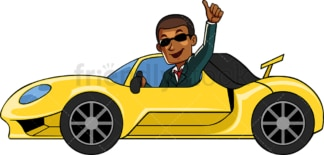 Rick black businessman driving fancy car. PNG - JPG and vector EPS file formats (infinitely scalable). Image isolated on transparent background.