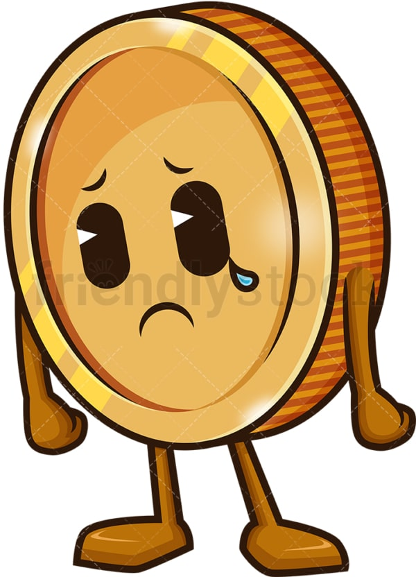 Sad coin crying. PNG - JPG and vector EPS (infinitely scalable).