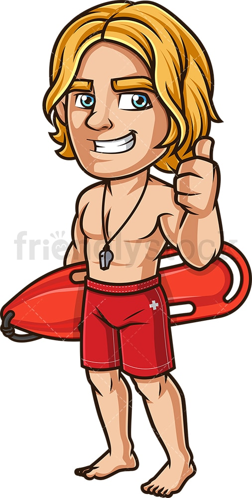 Smiling lifeguard thumbs up. PNG - JPG and vector EPS (infinitely scalable). Image isolated on transparent background.