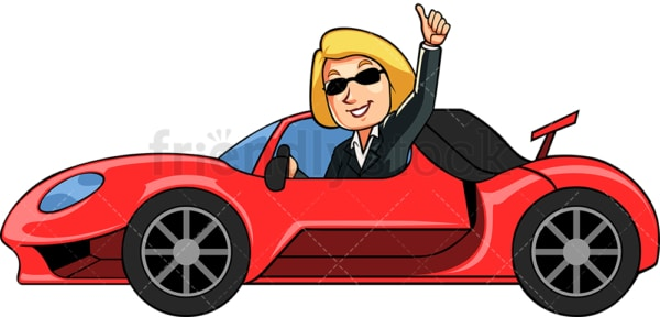 Successful businesswoman with fancy car. PNG - JPG and vector EPS file formats (infinitely scalable). Image isolated on transparent background.