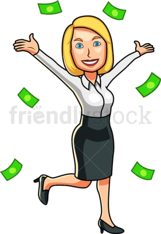 Successful woman surrounded by money. PNG - JPG and vector EPS file formats (infinitely scalable). Image isolated on transparent background.