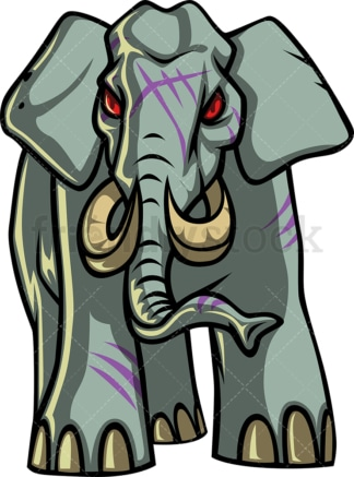 Wild elephant zombie. PNG - JPG and vector EPS (infinitely scalable).
