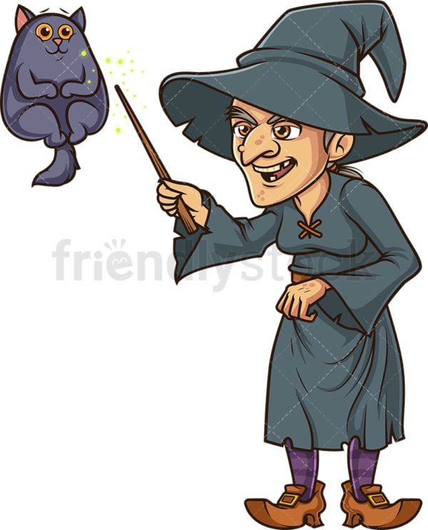 Witch casting spell on animal. PNG - JPG and vector EPS (infinitely scalable).