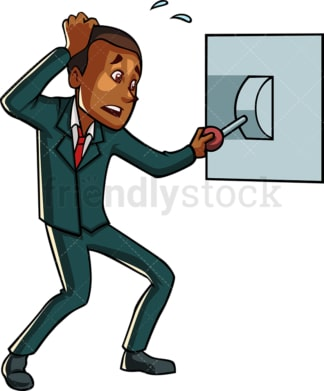 Black businessman pulling lever. PNG - JPG and vector EPS file formats (infinitely scalable). Image isolated on transparent background.