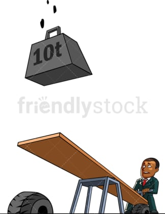 Black businessman waiting for a weight to fall. PNG - JPG and vector EPS file formats (infinitely scalable). Image isolated on transparent background.