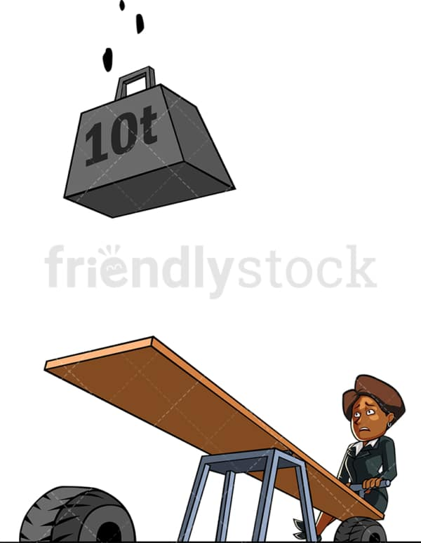 Black businesswoman in deep trouble. PNG - JPG and vector EPS file formats (infinitely scalable). Image isolated on transparent background.
