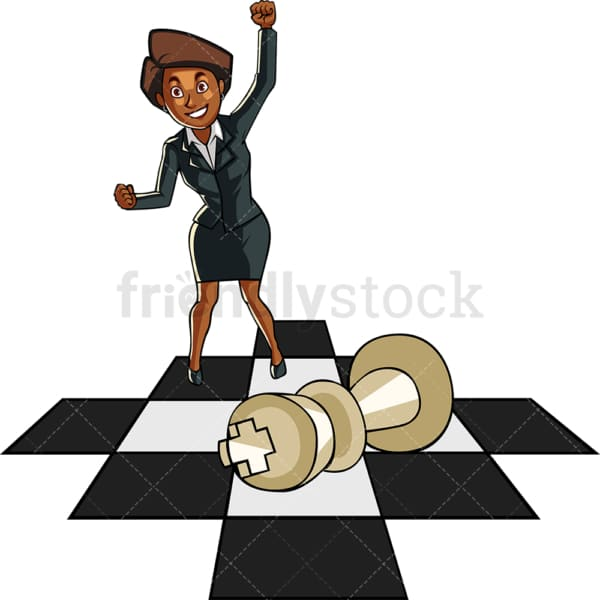 Black businesswoman on chess board. PNG - JPG and vector EPS file formats (infinitely scalable). Image isolated on transparent background.
