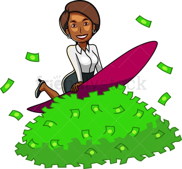 Black businesswoman surfing on money. PNG - JPG and vector EPS file formats (infinitely scalable). Image isolated on transparent background.