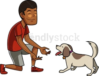 Black man interacting with his dog. PNG - JPG and vector EPS file formats (infinitely scalable). Image isolated on transparent background.