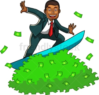 Black man surfing on money. PNG - JPG and vector EPS file formats (infinitely scalable). Image isolated on transparent background.