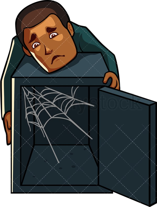 Black man who lost his wealth. PNG - JPG and vector EPS file formats (infinitely scalable). Image isolated on transparent background.