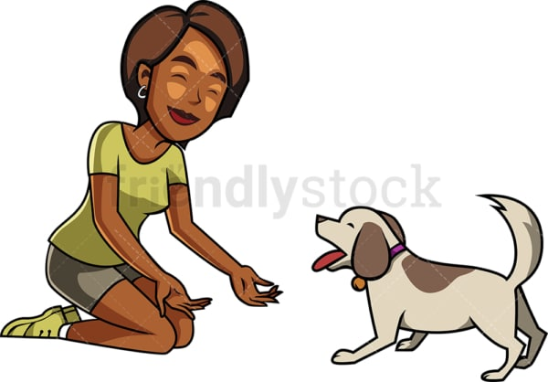 Black woman and dog playing together. PNG - JPG and vector EPS file formats (infinitely scalable). Image isolated on transparent background.