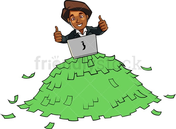 Black woman atop a pile of money. PNG - JPG and vector EPS file formats (infinitely scalable). Image isolated on transparent background.