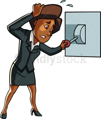 Black woman pulling alarm. PNG - JPG and vector EPS file formats (infinitely scalable). Image isolated on transparent background.