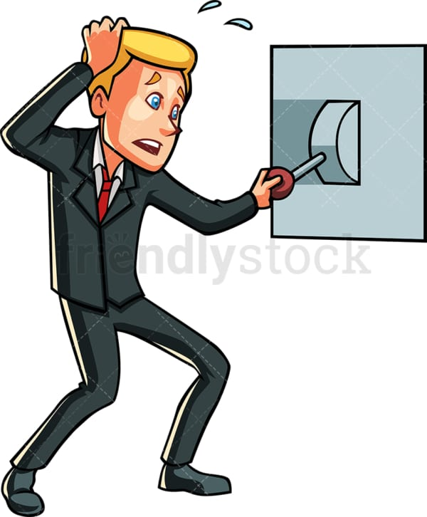 Businessman pulling a lever. PNG - JPG and vector EPS file formats (infinitely scalable). Image isolated on transparent background.
