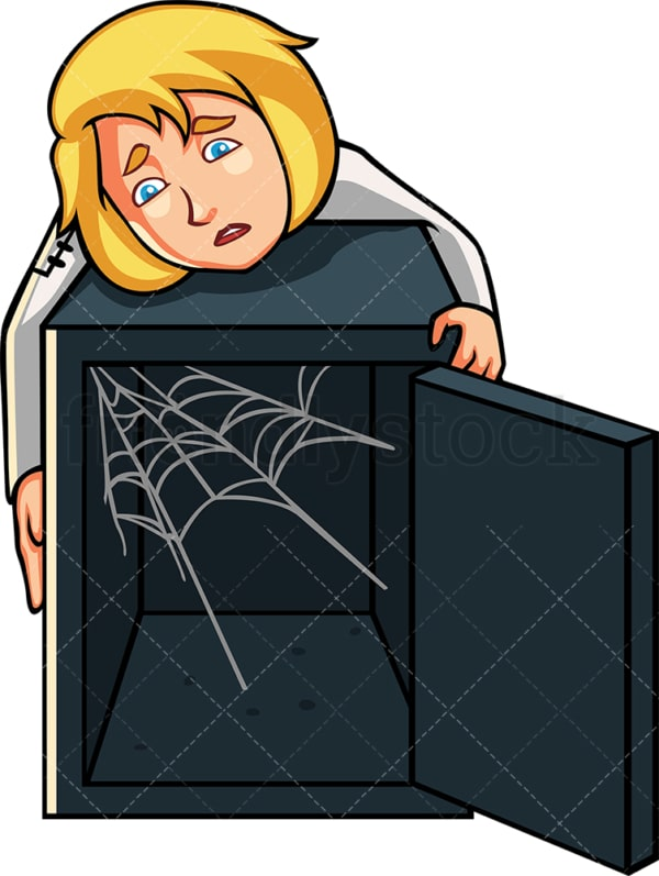 Businesswoman with cobweb-filled safe. PNG - JPG and vector EPS file formats (infinitely scalable). Image isolated on transparent background.