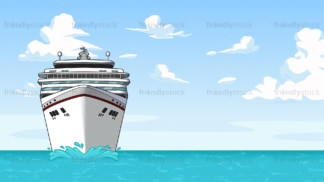 Cruise ship sailing at sea background in 16:9 aspect ratio. PNG - JPG and vector EPS file formats (infinitely scalable).