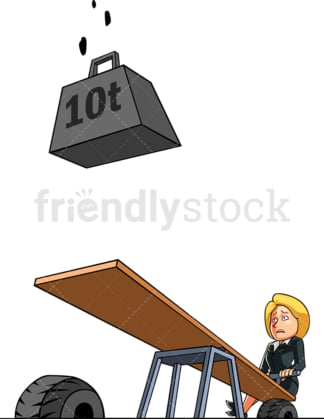 Doomed and helpless businesswoman. PNG - JPG and vector EPS file formats (infinitely scalable). Image isolated on transparent background.