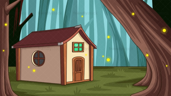 Lone house in mythical forest background in 16:9 aspect ratio. PNG - JPG and vector EPS file formats (infinitely scalable).