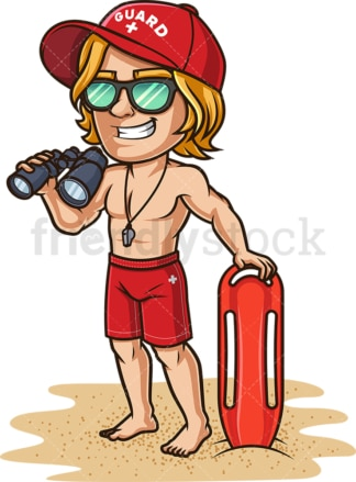 Male lifeguard with binoculars. PNG - JPG and vector EPS (infinitely scalable). Image isolated on transparent background.