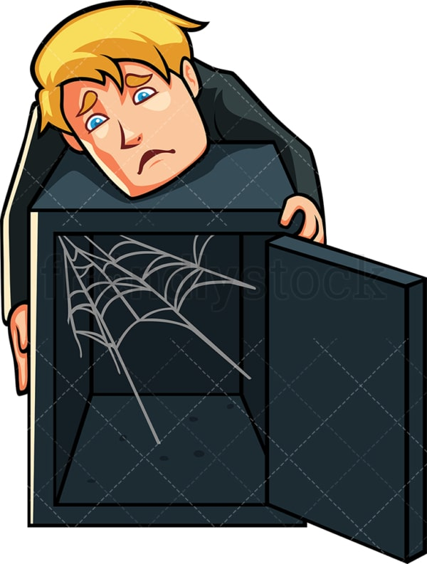 Man showing empty safe with cobwebs. PNG - JPG and vector EPS file formats (infinitely scalable). Image isolated on transparent background.