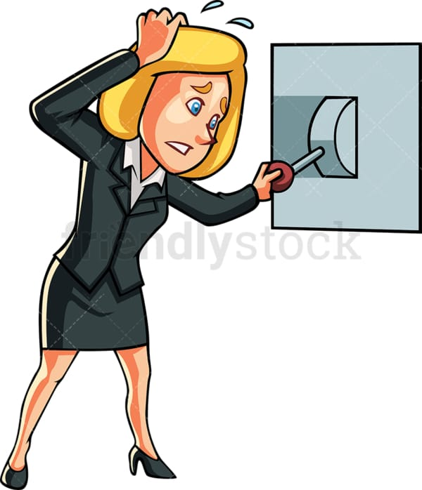Nervous businesswoman turning off switch. PNG - JPG and vector EPS file formats (infinitely scalable). Image isolated on transparent background.