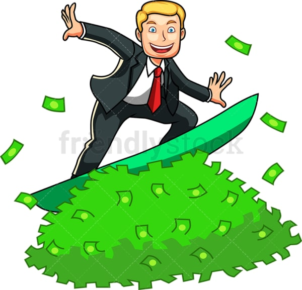 Rich man surfing money wave. PNG - JPG and vector EPS file formats (infinitely scalable). Image isolated on transparent background.