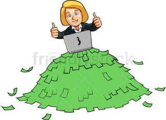 Successful internet business woman. PNG - JPG and vector EPS file formats (infinitely scalable). Image isolated on transparent background.