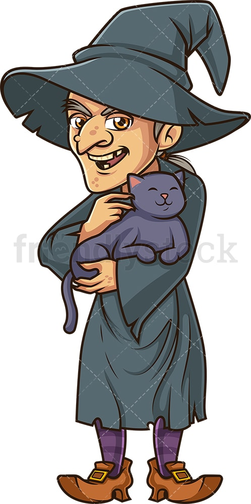 Vicious witch petting black cat. PNG - JPG and vector EPS (infinitely scalable).