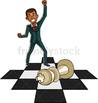 Winning black businessman on chess board. PNG - JPG and vector EPS file formats (infinitely scalable). Image isolated on transparent background.