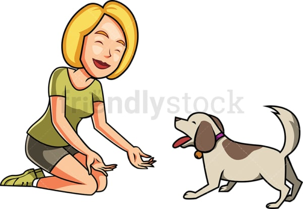 Woman and dog playing together. PNG - JPG and vector EPS file formats (infinitely scalable). Image isolated on transparent background.