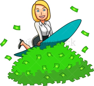 Woman surfing on pile of money. PNG - JPG and vector EPS file formats (infinitely scalable). Image isolated on transparent background.