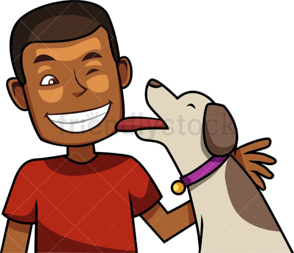 Affectionate dog licking black man. PNG - JPG and vector EPS file formats (infinitely scalable). Image isolated on transparent background.