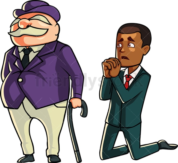 Black businessman begging for a loan. PNG - JPG and vector EPS file formats (infinitely scalable). Image isolated on transparent background.