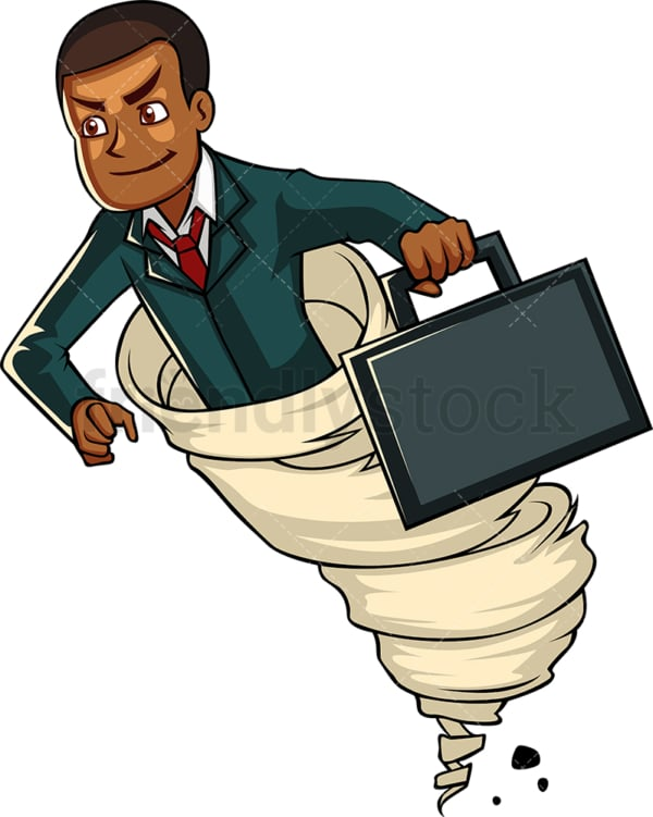 Black businessman running like the wind. PNG - JPG and vector EPS file formats (infinitely scalable). Image isolated on transparent background.