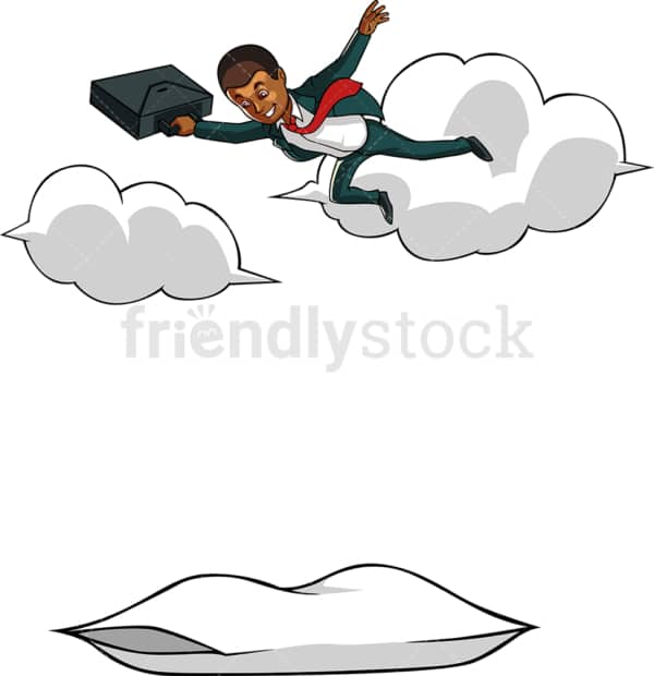 Black businessman soaring high up in clouds. PNG - JPG and vector EPS file formats (infinitely scalable). Image isolated on transparent background.
