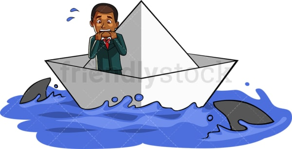 Black businessman surrounded by sharks. PNG - JPG and vector EPS file formats (infinitely scalable). Image isolated on transparent background.