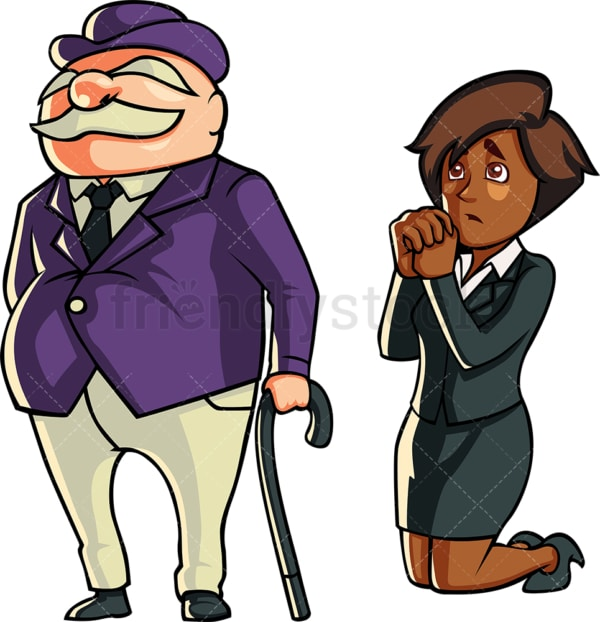 Black businesswoman begging a banker. PNG - JPG and vector EPS file formats (infinitely scalable). Image isolated on transparent background.