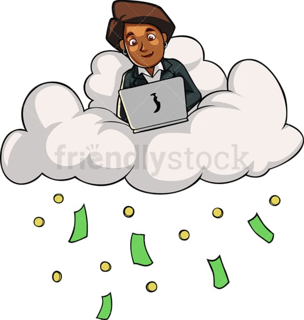 Black businesswoman cloud computing. PNG - JPG and vector EPS file formats (infinitely scalable). Image isolated on transparent background.