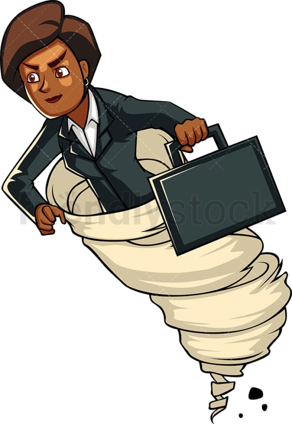 Black businesswoman running like the wind. PNG - JPG and vector EPS file formats (infinitely scalable). Image isolated on transparent background.