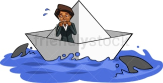 Black businesswoman surrounded by sharks. PNG - JPG and vector EPS file formats (infinitely scalable). Image isolated on transparent background.