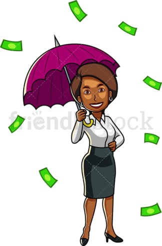 Black woman under umbrella raining money. PNG - JPG and vector EPS file formats (infinitely scalable). Image isolated on transparent background.